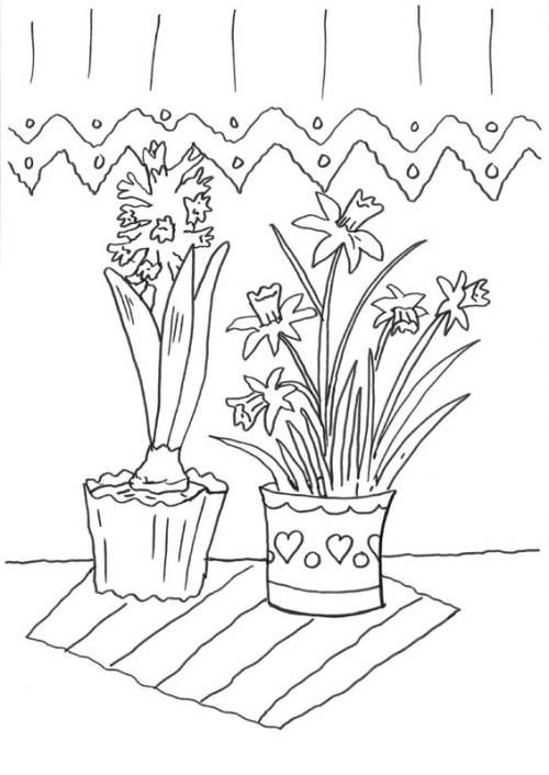 kostenlose malvorlage blumen: hyazinthe und narzisse zum