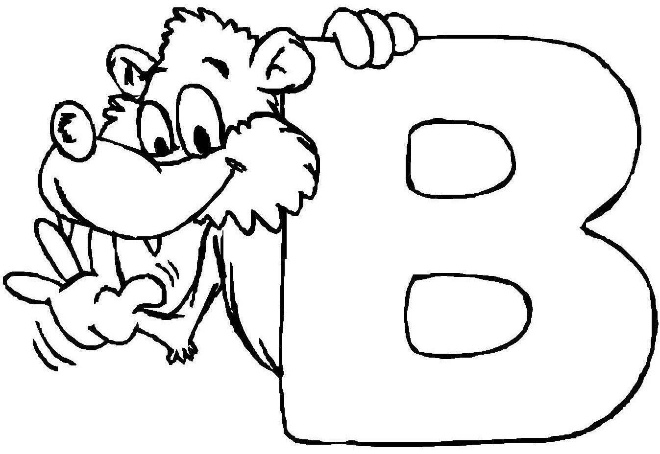 Kostenlose Malvorlage Buchstaben lernen: Tierschrift B zum Ausmalen