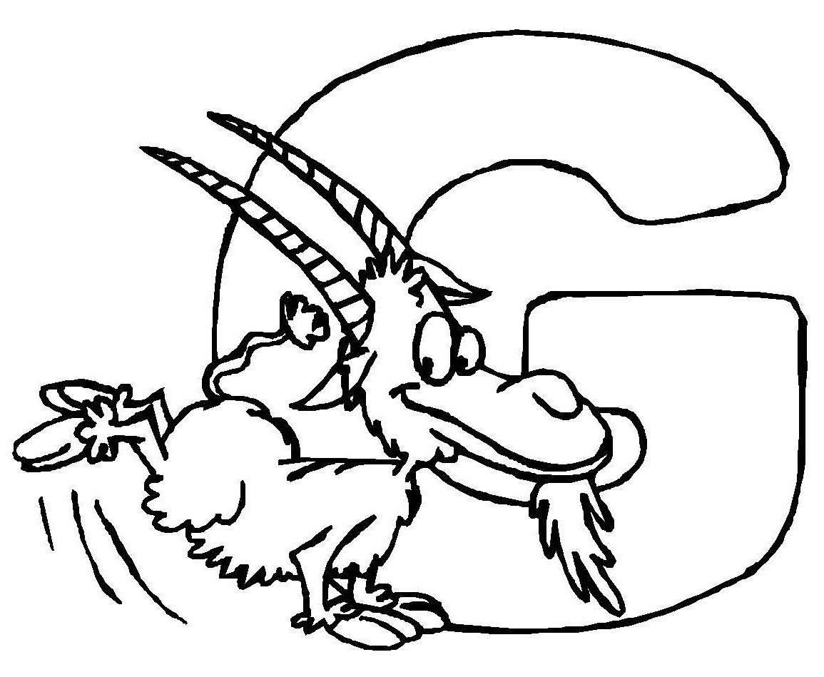 Kostenlose Malvorlage Buchstaben lernen: Tierschrift G zum Ausmalen