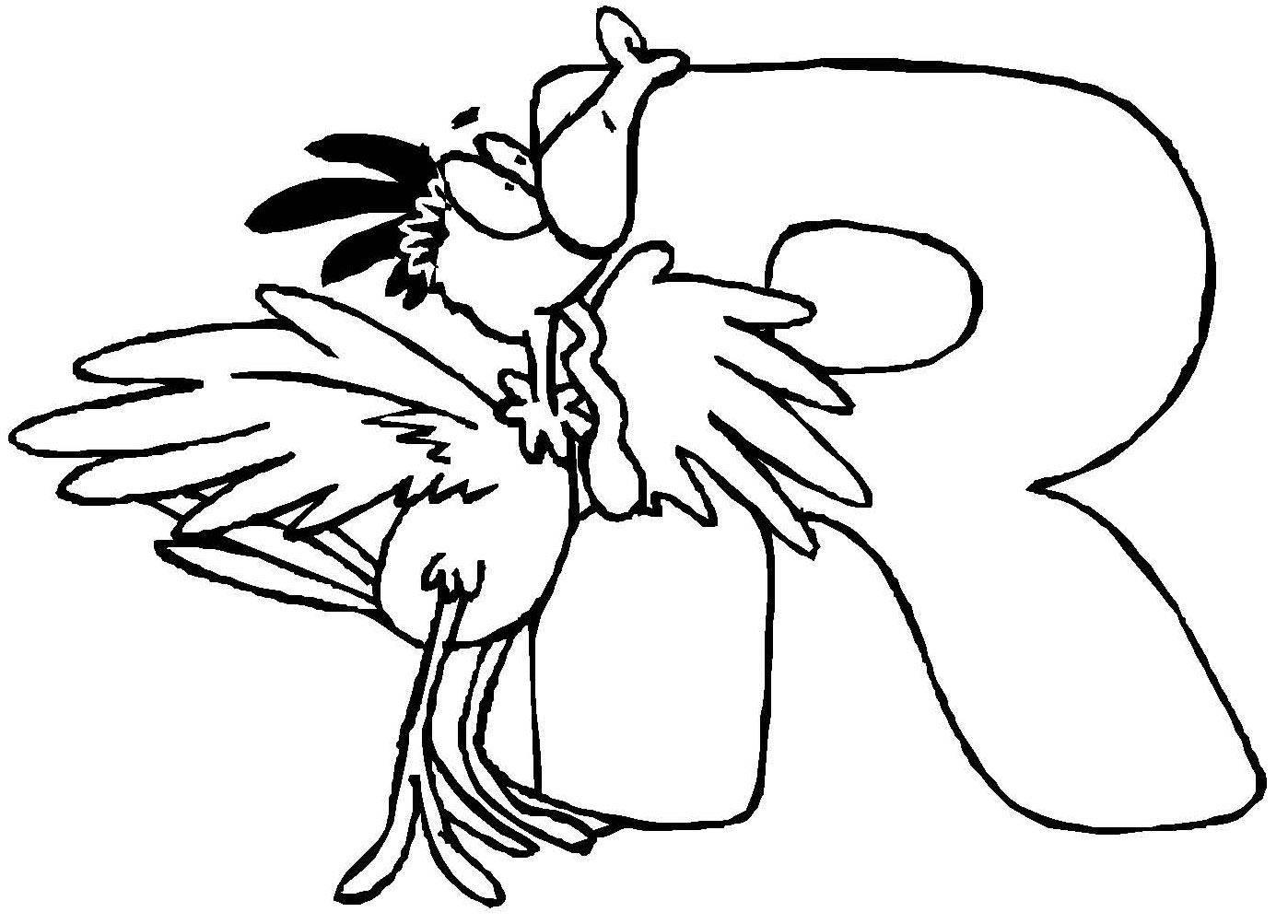 ausmalbild buchstaben lernen tierschrift r kostenlos