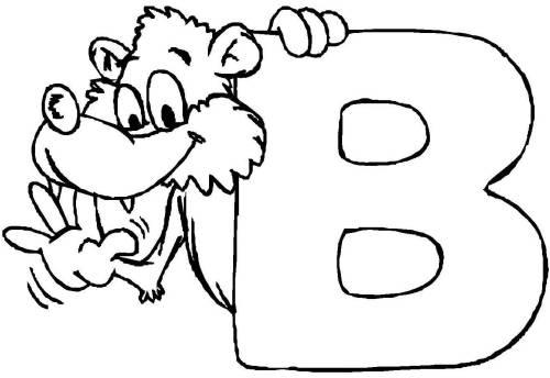 kostenlose malvorlage buchstaben lernen: tierschrift b zum