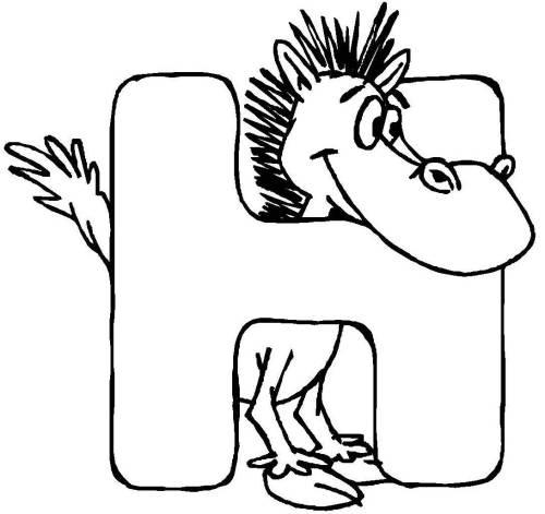 Kostenlose Malvorlage Buchstaben lernen: Tierschrift H zum Ausmalen