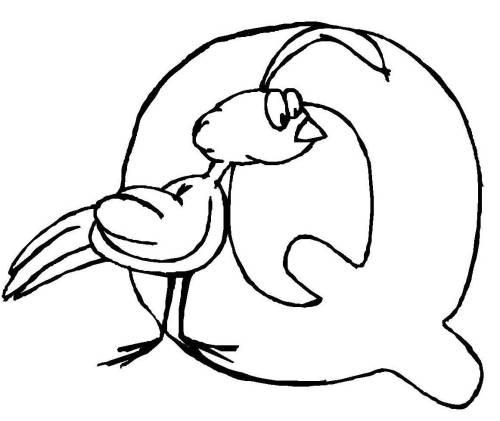 kostenlose malvorlage buchstaben lernen: tierschrift q zum