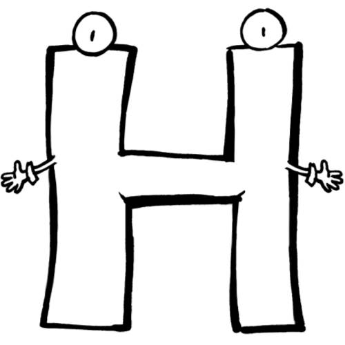 Kostenlose Malvorlage Buchstaben lernen: Buchstabe H zum Ausmalen