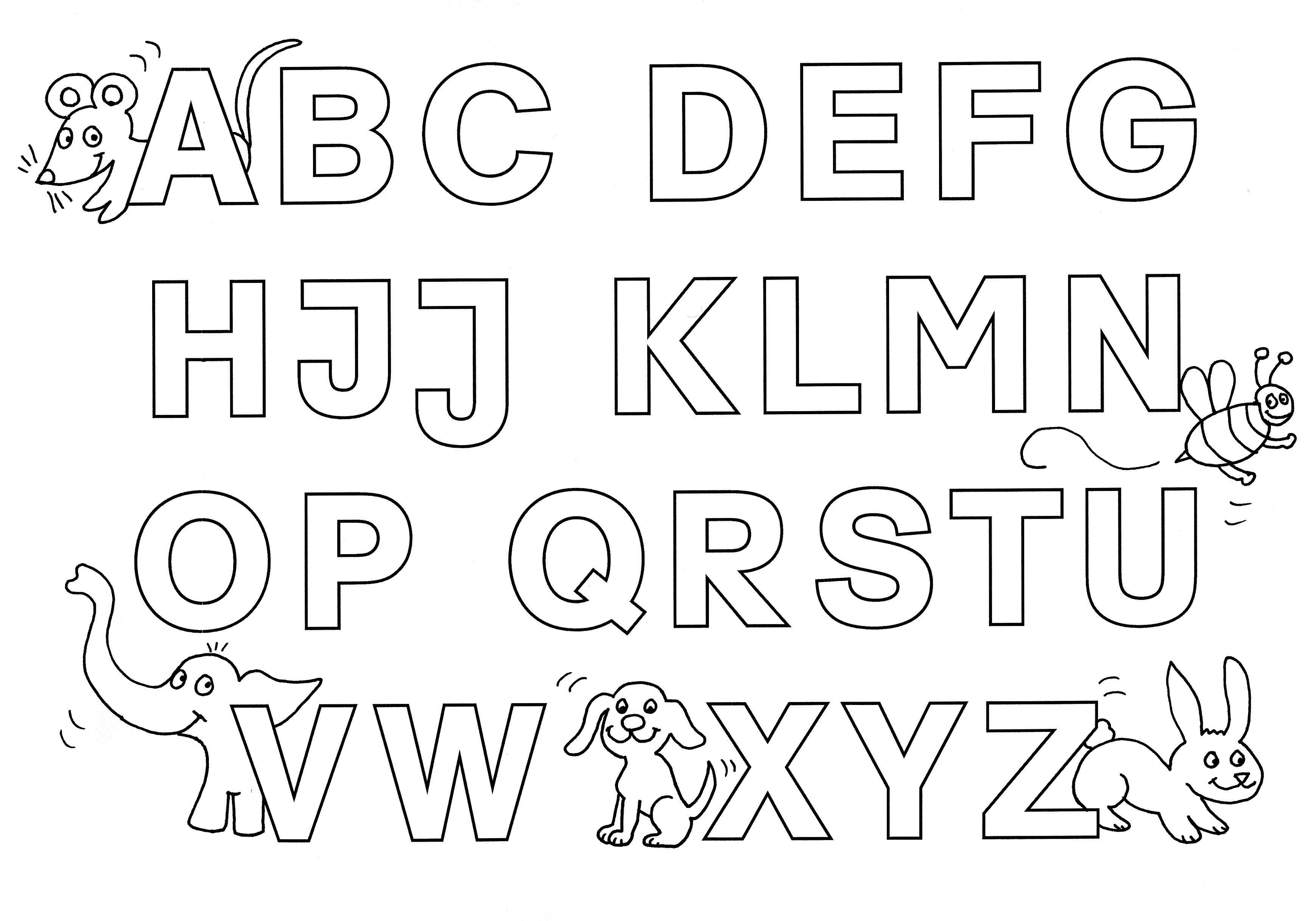 Ausmalbild Buchstaben lernen: Buchstaben lernen: Alphabet kostenlos ...