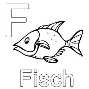 kostenlose malvorlage buchstaben lernen: kostenlose malvorlage: f wie fisch zum ausmalen