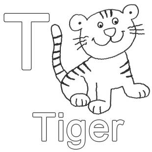 kostenlose malvorlage buchstaben lernen: kostenlose malvorlage: t wie tiger zum ausmalen