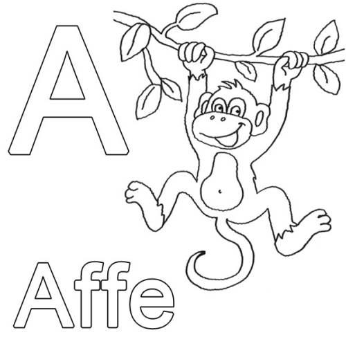 Kostenlose Malvorlage Buchstaben Lernen A Wie Affe Zum Ausmalen