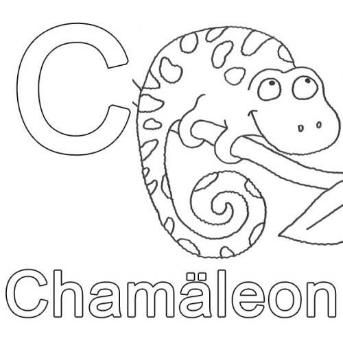 Kostenlose Malvorlage Buchstaben Lernen C Wie Chamäleon Zum Ausmalen