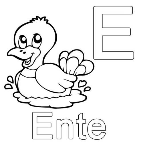 Kostenlose Malvorlage Buchstaben lernen: E wie Ente zum Ausmalen