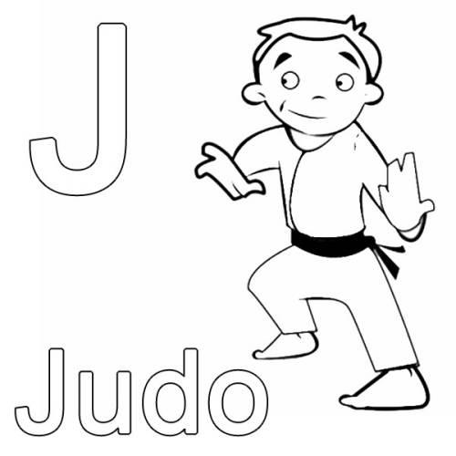kostenlose malvorlage buchstaben lernen j wie judo zum