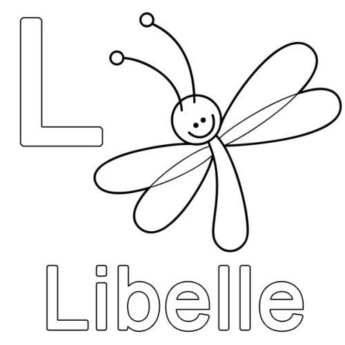 Kostenlose Malvorlage Buchstaben Lernen L Wie Libelle Zum Ausmalen