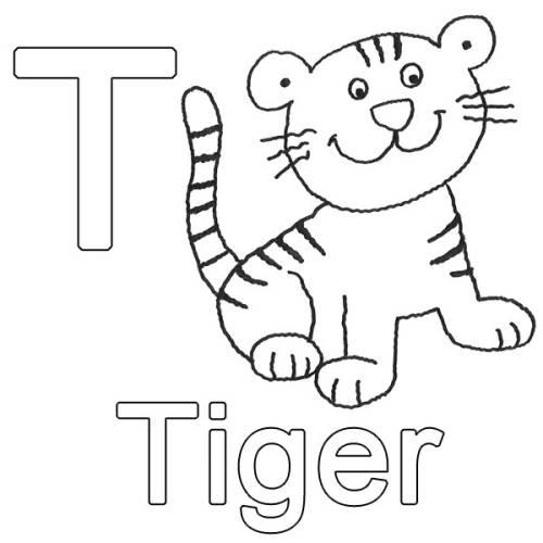 Kostenlose Malvorlage Buchstaben Lernen T Wie Tiger Zum