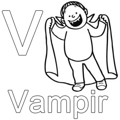 kostenlose malvorlage buchstaben lernen v wie vampir zum