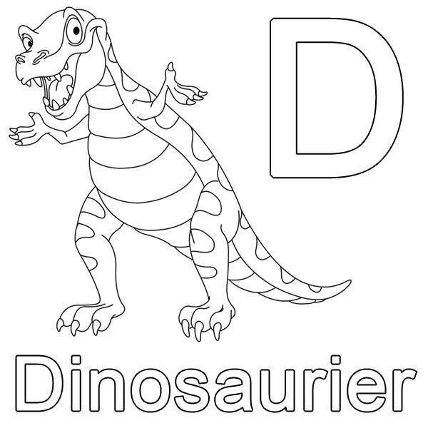 ausmalbild buchstaben lernen d wie dinosaurier kostenlos