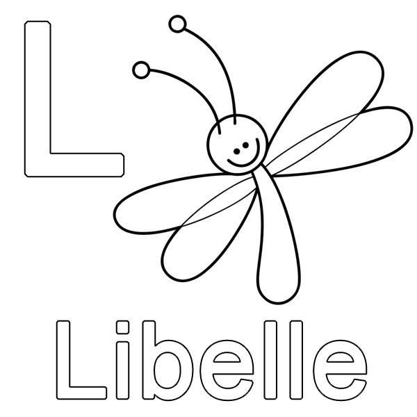 kostenlose malvorlage buchstaben lernen l wie libelle zum