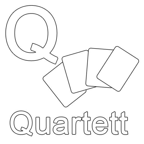 ausmalbild buchstaben lernen q wie quartett kostenlos