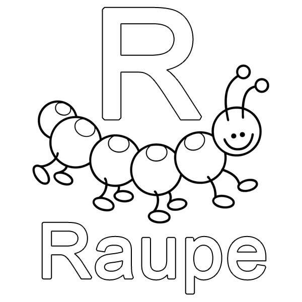 Ausmalbild Buchstaben lernen: R wie Raupe kostenlos ausdrucken