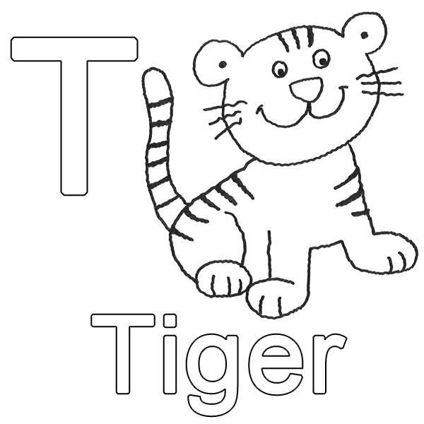 Ausmalbild Buchstaben Lernen T Wie Tiger Kostenlos Ausdrucken
