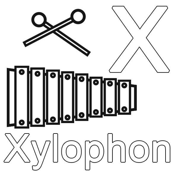 ausmalbild buchstaben lernen x wie xylophon kostenlos