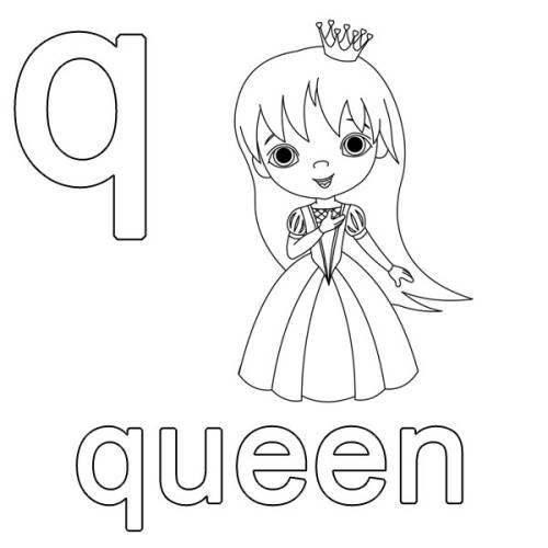 Kostenlose Malvorlage Englisch lernen: queen zum Ausmalen
