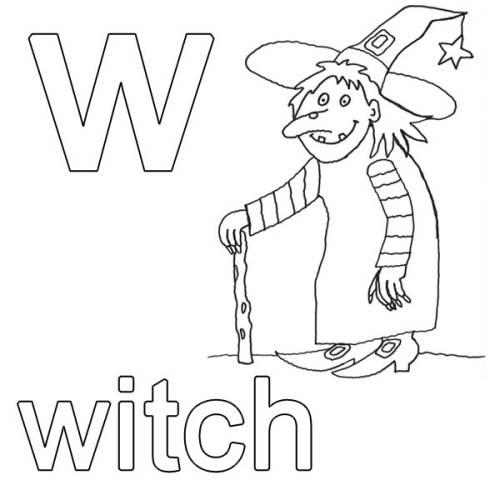 kostenlose malvorlage englisch lernen witch zum ausmalen. Black Bedroom Furniture Sets. Home Design Ideas
