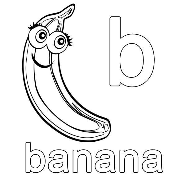 Ausmalbild Englisch Lernen Banana Kostenlos Ausdrucken