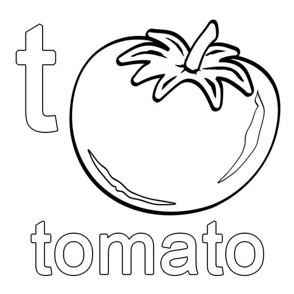 Tomate ausmalbild  Ausmalbild Englisch lernen: tomato kostenlos ausdrucken
