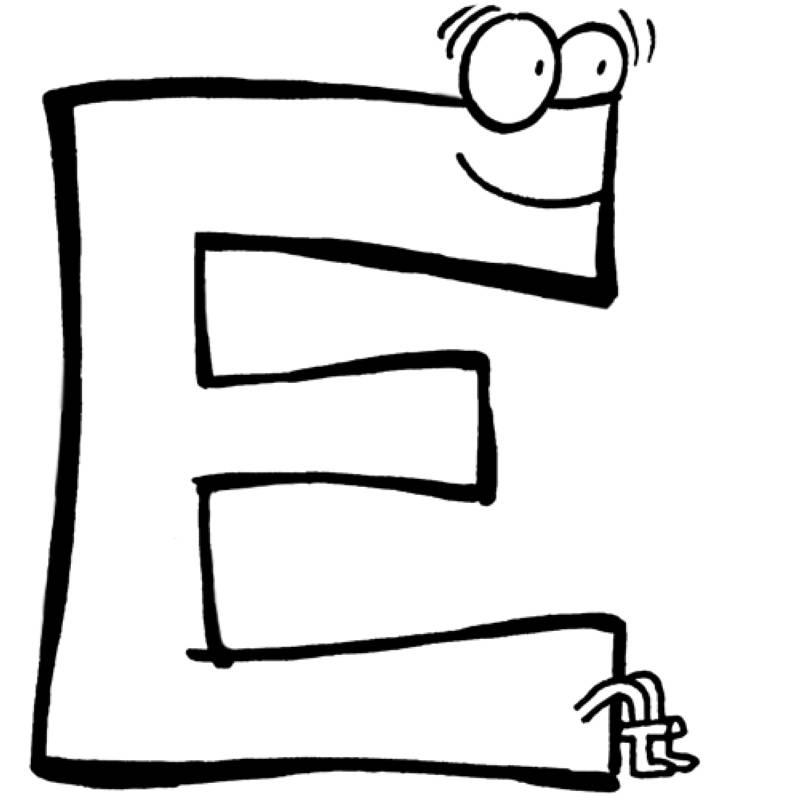 kostenlose malvorlage buchstaben lernen: buchstabe e zum