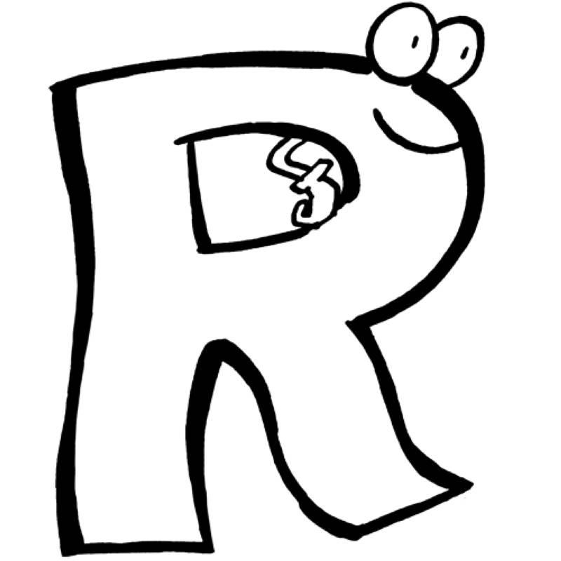 Kostenlose Malvorlage Buchstaben lernen: Buchstabe R zum Ausmalen