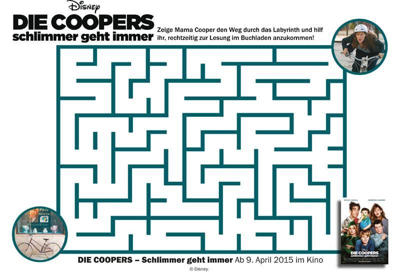 ausmalbild labyrinthe f r kinder die coopers schlimmer. Black Bedroom Furniture Sets. Home Design Ideas