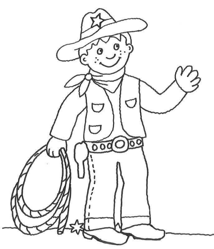 Kostenlose Malvorlage Cowboys Indianer Cowboy Mit Lasso Zum Ausmalen