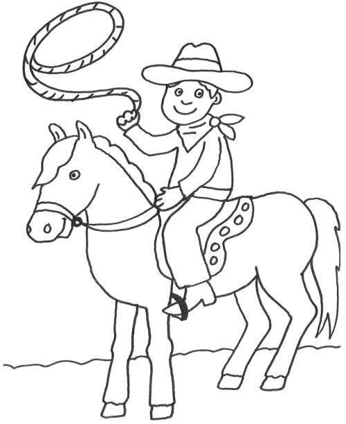 Kostenlose Malvorlage Cowboys Indianer Cowboy Auf Seinem Pferd