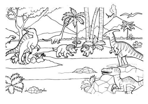 Kostenlose Malvorlage Dinosaurier Und Steinzeit Verschiedene