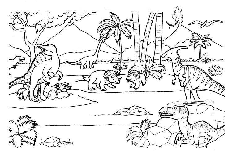 Ausmalbild Dinosaurier Und Steinzeit Verschiedene Dinosaurier