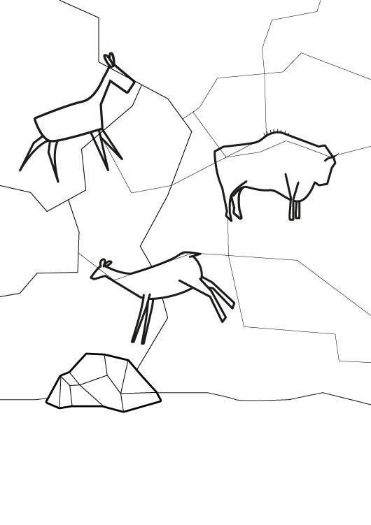 Ausmalbild Dinosaurier Und Steinzeit Höhlenmalerei Ausmalen