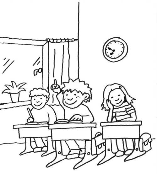 Kostenlose Malvorlage Einschulung: Kinder in der Schule zum Ausmalen