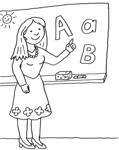 Kostenlose Malvorlage Einschulung Lehrerin An Der Tafel Zum Ausmalen