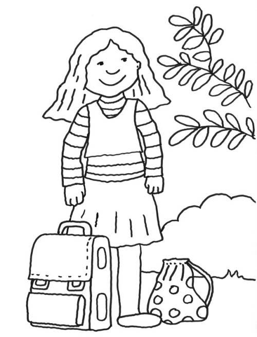 Kostenlose Malvorlage Einschulung: Mädchen mit Schultasche zum Ausmalen