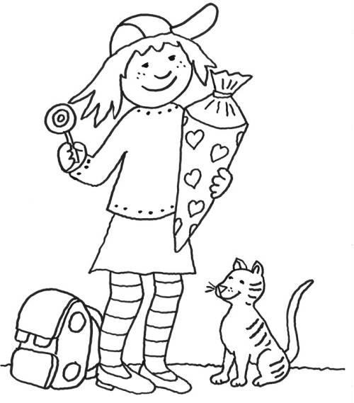 Kostenlose Malvorlage Einschulung Mädchen Mit Schultüte Zum Ausmalen
