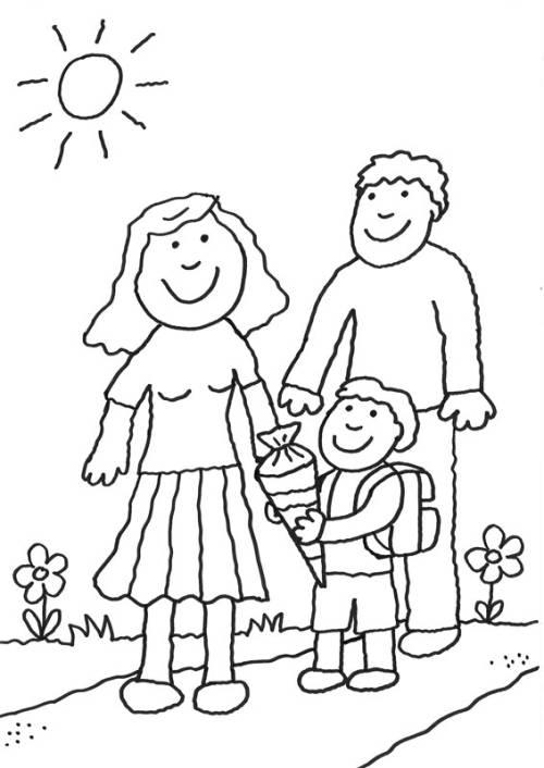 Kostenlose Malvorlage Einschulung: Schulkind mit Eltern zum Ausmalen