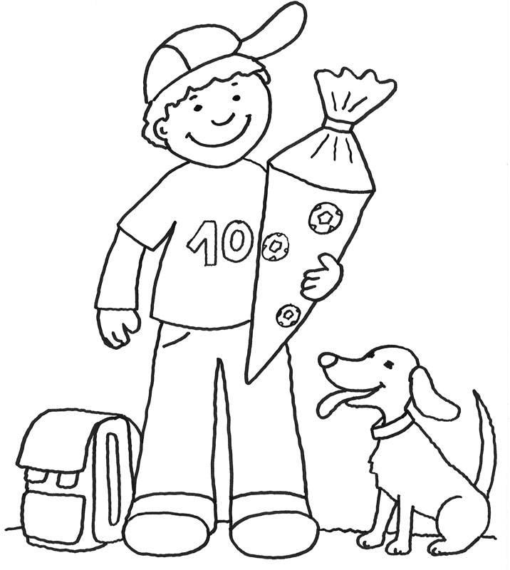 Kostenlose Malvorlage Einschulung: Junge mit Schultüte zum Ausmalen