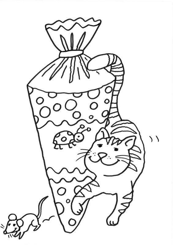 Ausmalbild Einschulung Schultüte Mit Marienkäfer Motiv Ausmalen