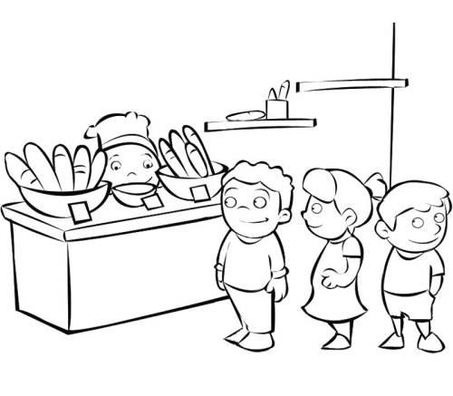 Kostenlose Malvorlage Berufe: In der Bäckerei zum Ausmalen