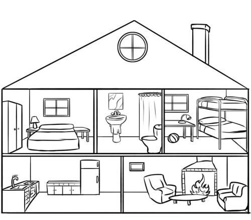 Kostenlose Malvorlage Menschen und ihr Zuhause: Puppenhaus zum Ausmalen
