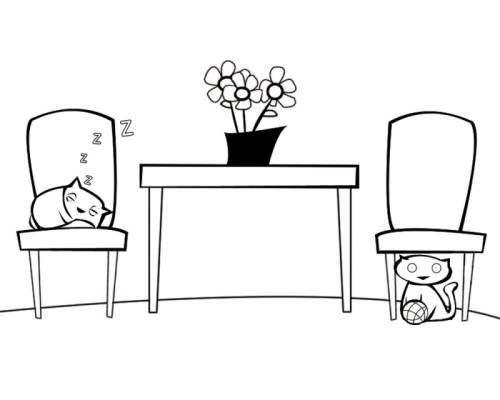 Kostenlose Malvorlage Menschen und ihr Zuhause: Katzen im Wohnzimmer ...