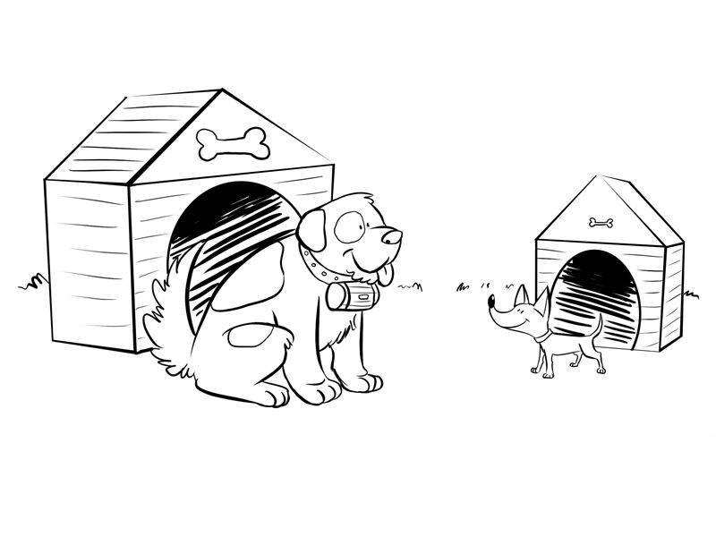 Kostenlose Malvorlage Menschen und ihr Zuhause: Hunde vor ihren ...