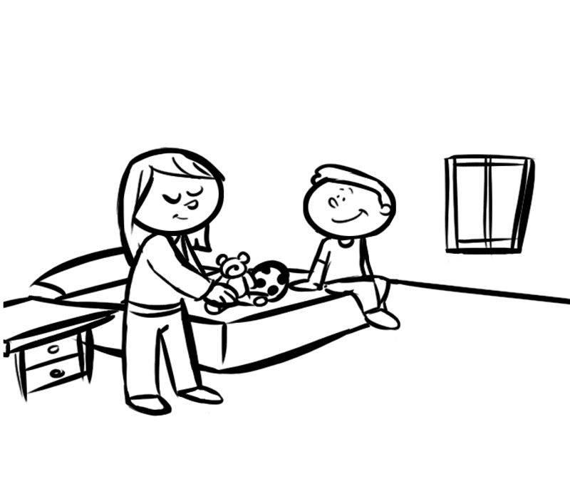 Ausmalbild Menschen und ihr Zuhause: Im Kinderzimmer ...
