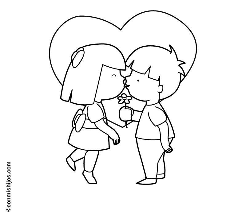 Ausmalbild Hochzeit und Liebe: Blumen und Küsse kostenlos ausdrucken