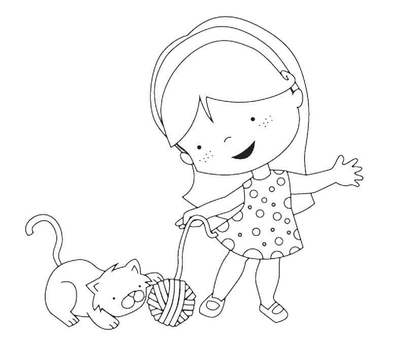 Ausmalbild Menschen Und Ihr Zuhause Mädchen Spielt Mit Katze